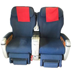 SAS A340 Navy Blue   Red Headrest Cover Business Class Seats Front